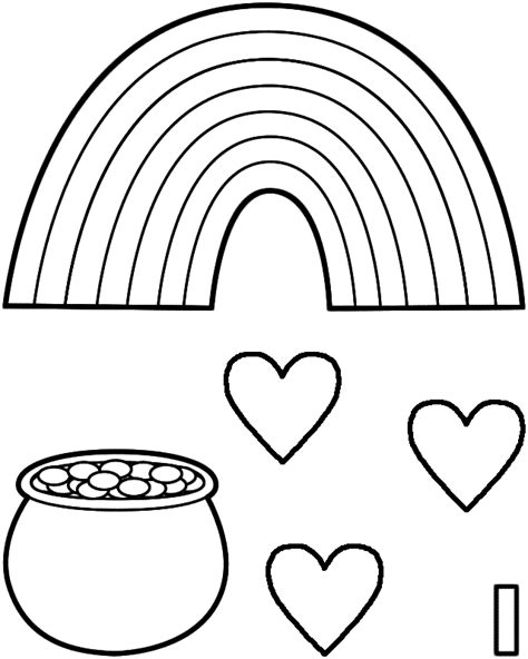 big rainbow coloring page lucky rainbow paper craft black and white template