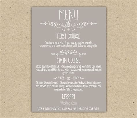 menu card templates for wedding reception kitchen dining