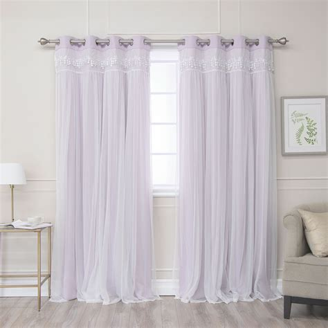 Lilac Blackout Curtains Lilac Lace 84 X 52 In Overlay Blackout Curtains Set Of Two Panels