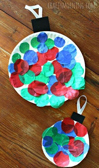 ornament school project paper plate tissue paper ornament project craft for crafty