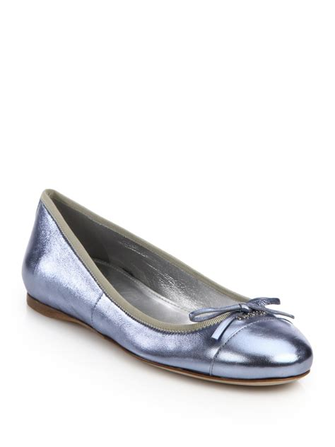 metallic flat shoes prada metallic leather ballet flats in blue lyst