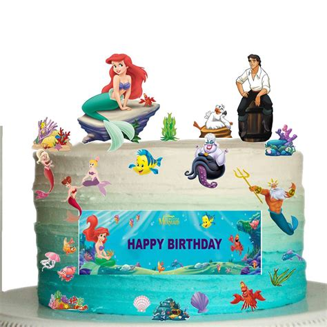 Mermaid Decorations For Home disney little mermaid edible wafer card cake topper scene