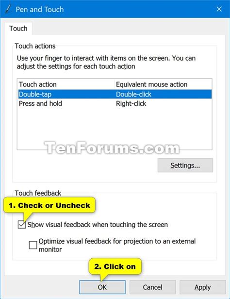 windows 10 touch tutorial turn on or off touch visual feedback in windows 10 windows