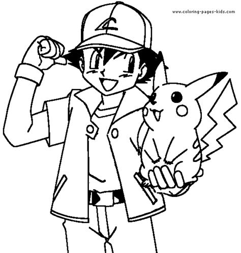 pokemon trainer coloring pages ash and his pokemon coloring pages getcoloringpages com