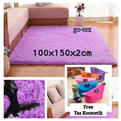 Harga Karpet Bulu Empuk free tas kosmetik karpet bulu rasfur lembut dan empuk