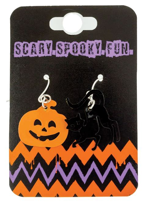Black Cat Earring pumpkin and black cat earrings accessories