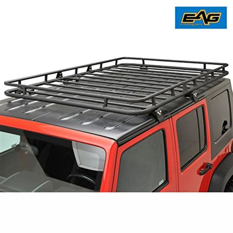 no drill roof rack eag roof rack cargo basket with mounting brackets for 07 17 jeep wrangler unlimited jk 4 door