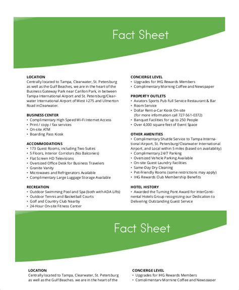 event fact sheet template fact sheet template 19 free sle exle format