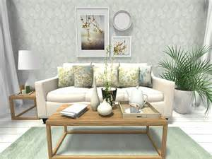 Home Decorating Ideas For Living Room spring decorating ideas living room design with leaf print wallpaper