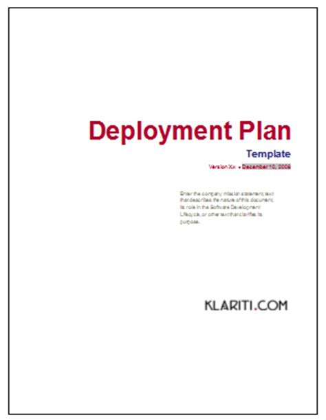 software deployment document template deployment plan templates 3 x ms word
