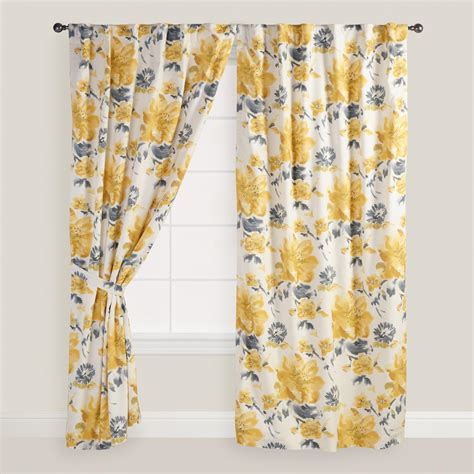 Yellow And Gray Floral Fleurs Curtains Set Of 2 World