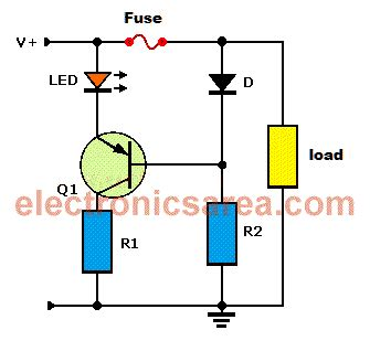 blown fuse indicator led circuit blown fuse indicator circuit using one transistor electronics area