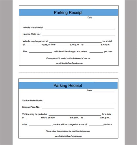 receipt template for parking exle of parking receipt