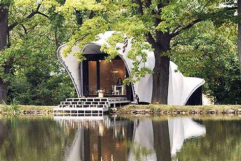 waterproof house cocoon like garden house is wrapped in a waterproof tensile canopy inhabitat