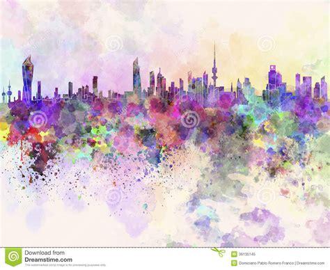 Skyline Wall Mural kuwait city skyline in watercolor background stock