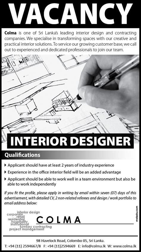 interior design vacancies interior design vacancies in sri lanka