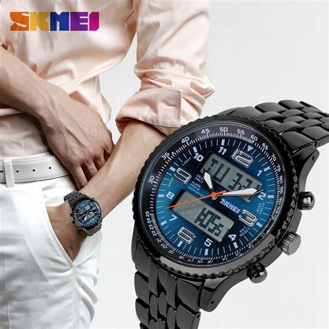 Jual Skmei S Fashion Analog Digital Black Steel Band Wrist 1 1 zegarek męski skmei sportowy cyfrowo analogowy wodoodporny