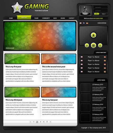 game layout psd advanced game psd layout clan website by grafup