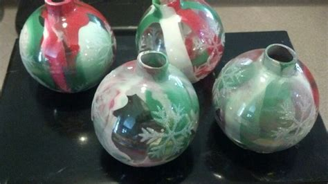 paint dripped inside glass ornaments crafts pinterest