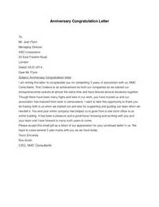 business anniversary letter sle congratulations letter company anniversary how to 46