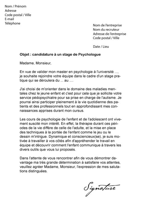 Lettre De Motivation Stage Psychologie Lettre De Motivation Stage Psychologue Mod 232 Le De Lettre