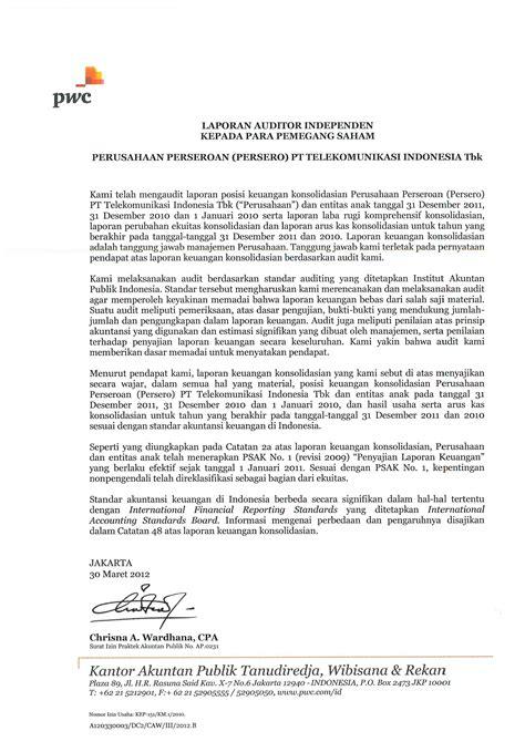 laporan auditor standar unqualified opinion pt telkom sutan