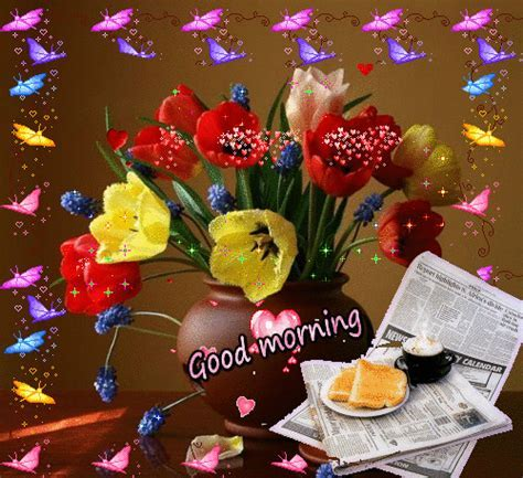 Beautiful Good Morning Colorful Butterflies With Flowers