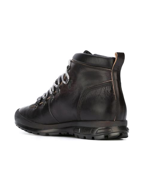 armani boots for emporio armani hiking ankle boots in black for lyst