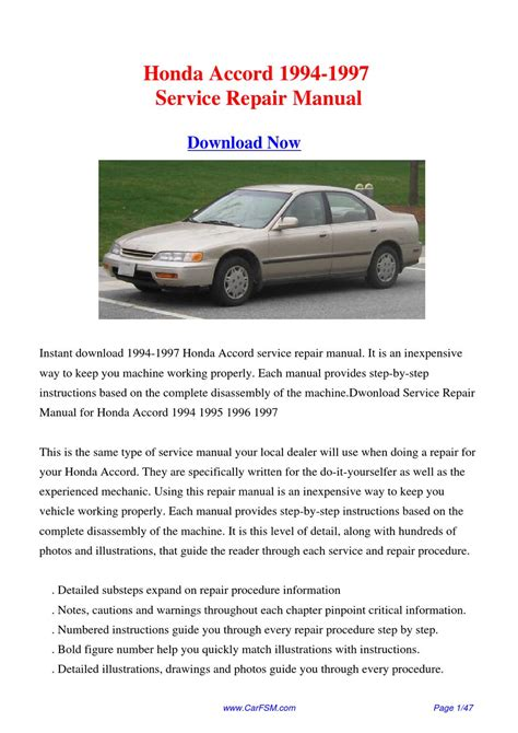 how to download repair manuals 1994 honda prelude lane departure warning download 1994 1997 honda accord service repair manual by gong dang issuu