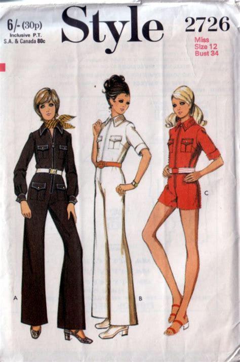 jumpsuit paper pattern style 2726 vintage 70s jumpsuit and romper pattern uncut