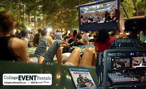 backyard movie night rental rent lcd projector movie screen in chicago il outdoor