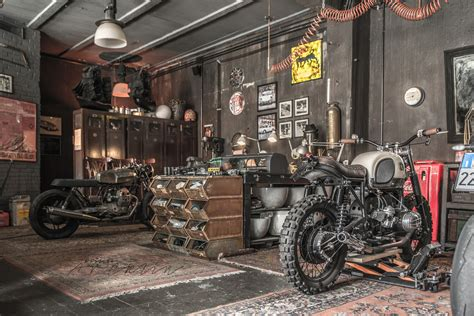 living in a garage motorbikes on the living room or like living room on the