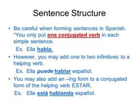sentence structure verbs and expressions that use the