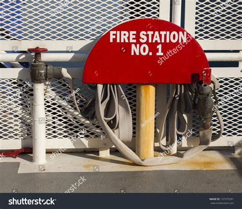 fire boat nozzle fire hose nozzle on ferry boat stock photo 137375291