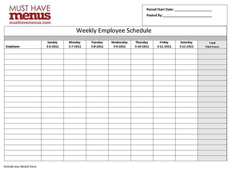 weekly employee schedule template new calendar template site