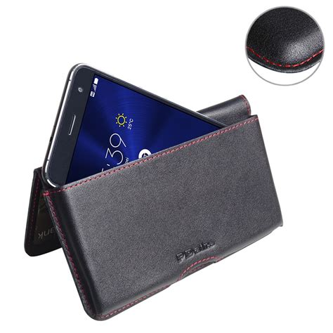 asus zenfone 3 leather wallet pouch case red stitch