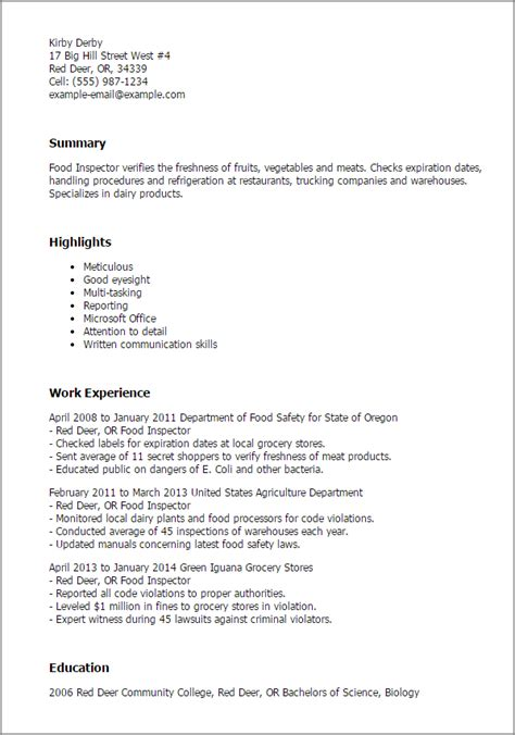 Sample Resume Objectives Welder by Professional Food Inspector Templates To Showcase Your
