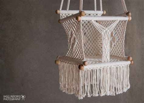 hanging swing for baby baby swing chair in macrame soft cotton by hangahammock on