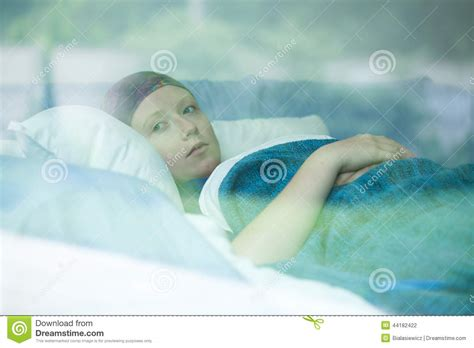 cancer woman in bed young woman suffering from cancer stock photo image 44182422