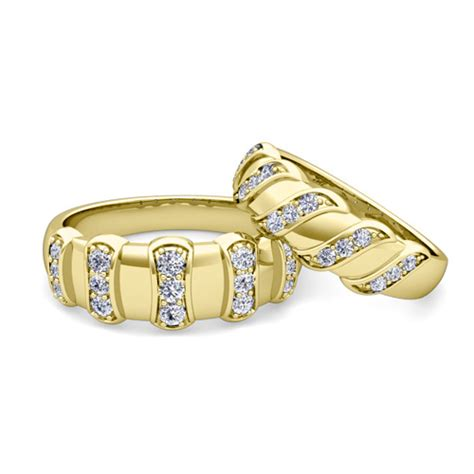 his and wedding band 14k gold unique wedding rings