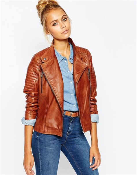 barneys s leather jacket barneys originals leather biker jacket with quilting and buckle detail in brown lyst