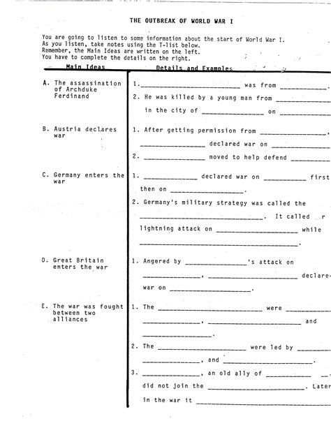 War Worksheets by World War 1 Worksheets Worksheets Releaseboard Free