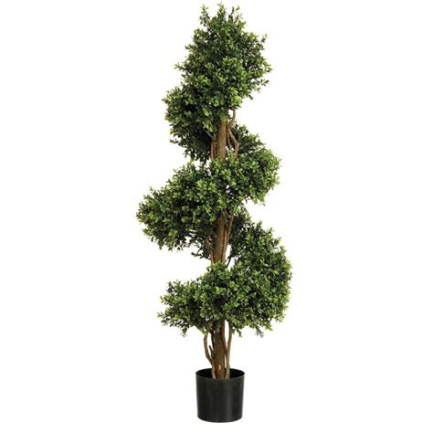 artificial buxus boxwood topiary spiral tree from red