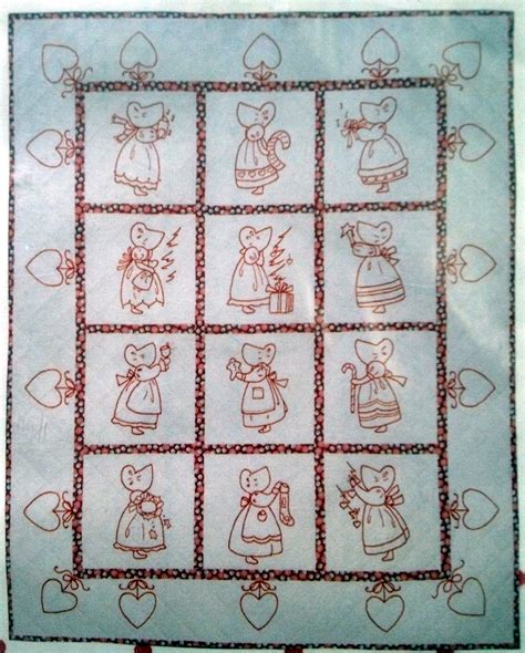 Embroidery Quilt Patterns by A Redwork Embroidery Quilt Pattern Bad 051