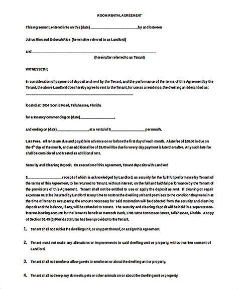 room rental template 9 room rental agreement template