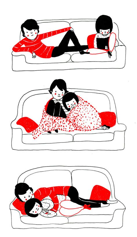 cuddling positions couch heartwarming illustrations show that love is in the small
