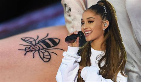 ariana grande tattoo grande gets a bee to show unity with manchester
