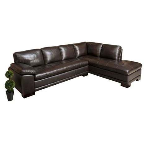 Leather 2 Sectional by Abbyson Living Tekana 2 Leather Sectional In Brown