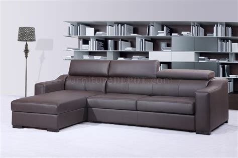 chocolate brown italian leather modern sleeper sectional sofa