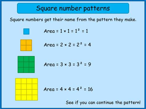 pattern square numbers square numbers mnm for students